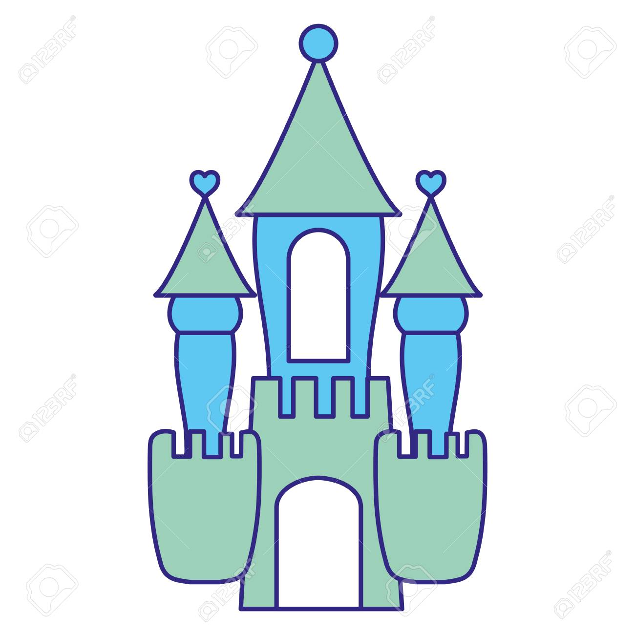 Duo Color Fantasy Medieval Castle With Cute Design Illustration ...