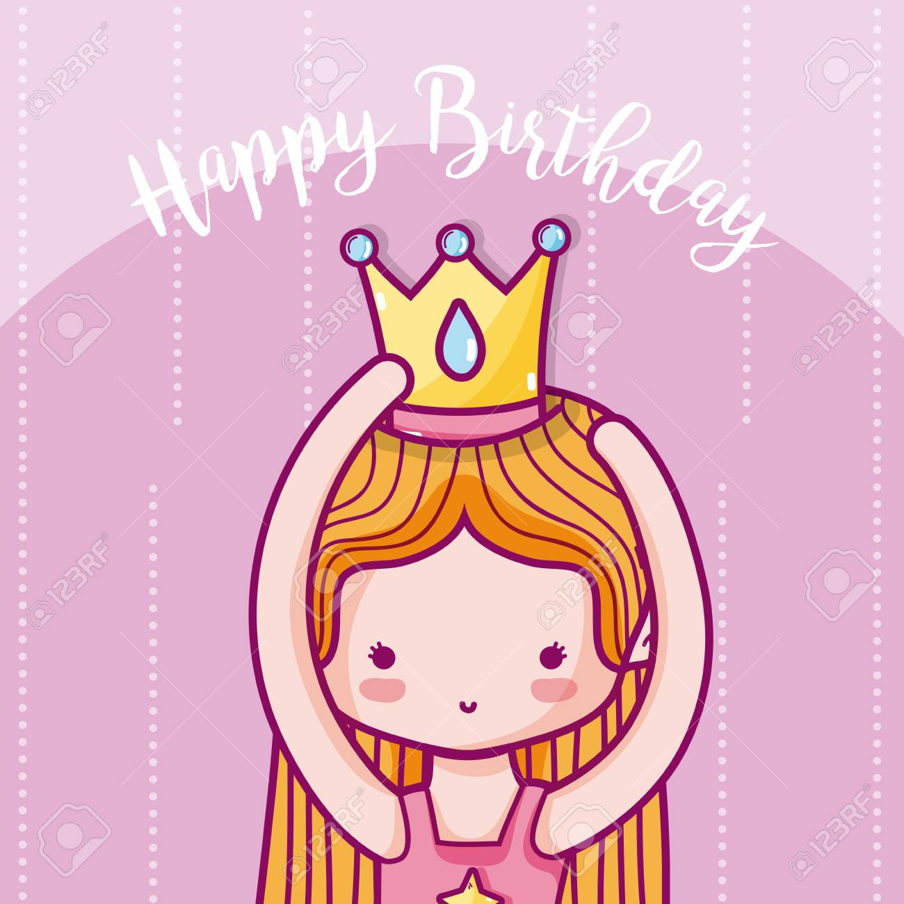Happy Birthday Card For Girl With Princess Cartoons Vector Illustration Graphic Design Stock
