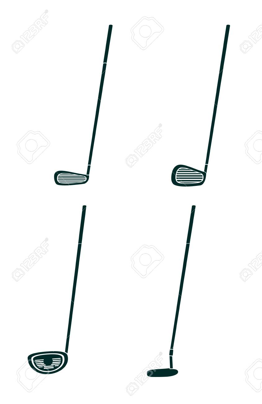 Set Og Golf Clubs In Blakc Silhouette Vector Illustration Graphic Royalty Free Cliparts Vectors And Stock Illustration Image 98593682