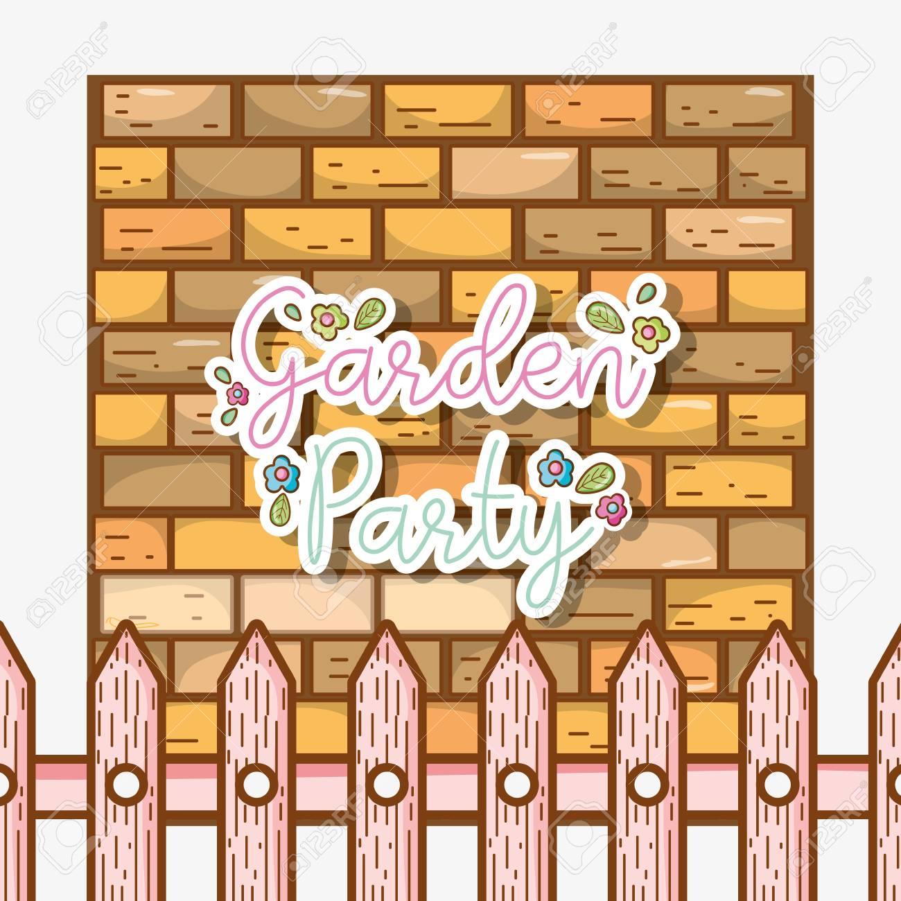 Garden party invitation card with cute cartoons royalty free garden party invitation card with cute cartoons stock vector 98762748 stopboris Choice Image
