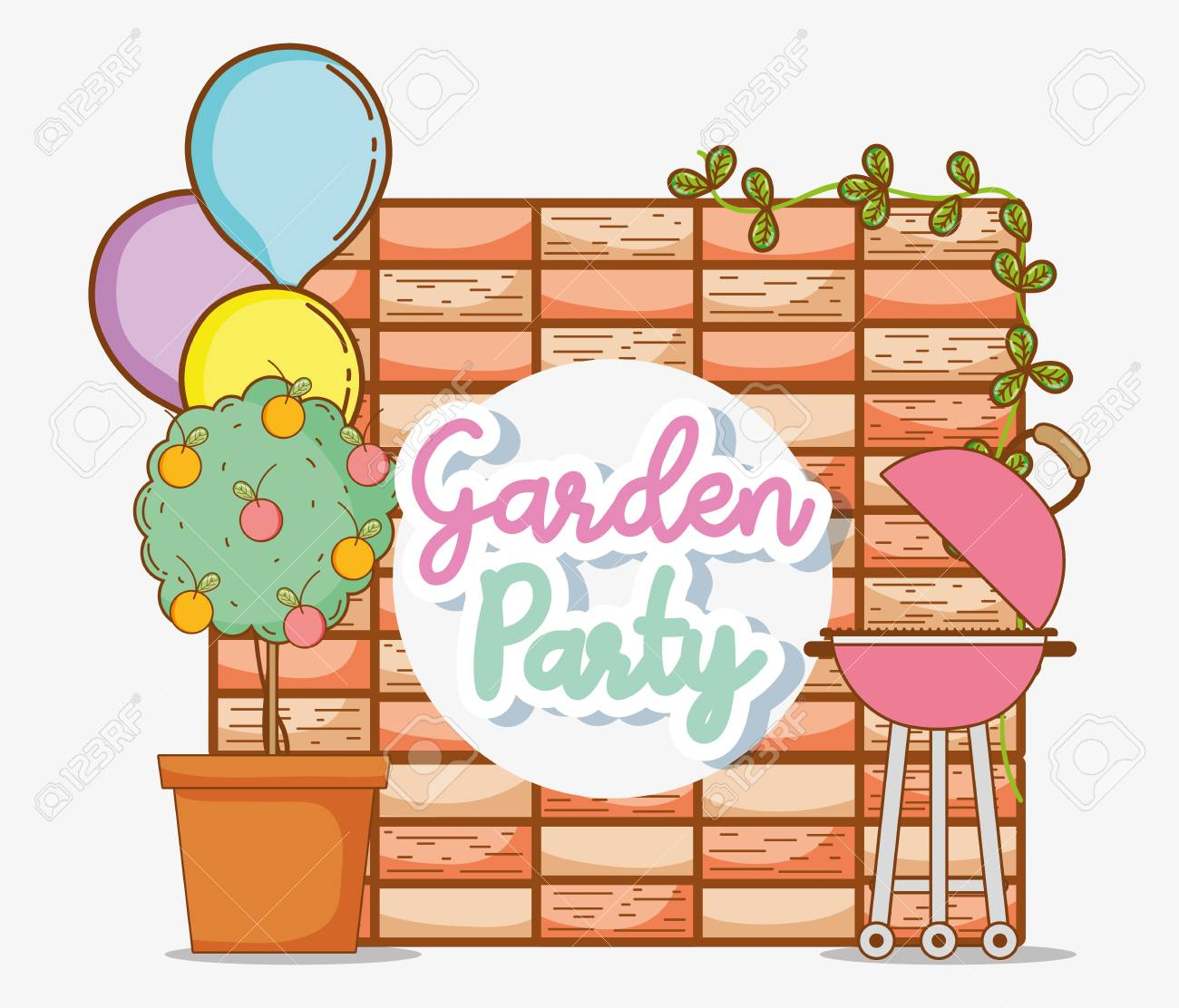 Garden party invitation card with cute cartoons vector illustration garden party invitation card with cute cartoons vector illustration graphic design stock vector 98666657 stopboris Choice Image