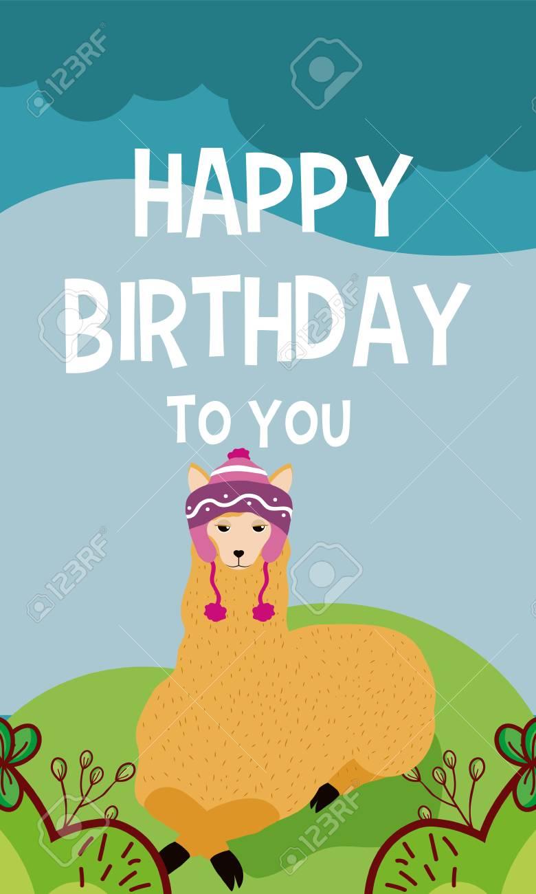 Llama Cartoon On Happy Birthday Card Vector Illustration Graphic