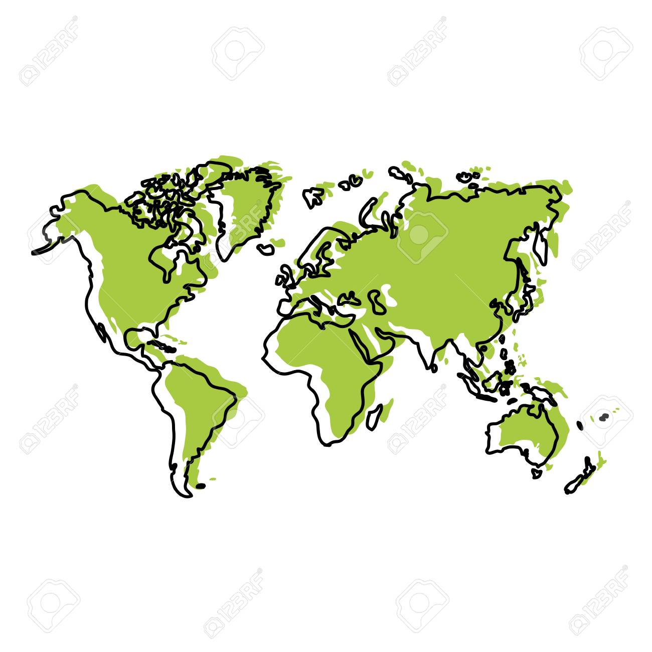 moved color global geography map with continents world vector..