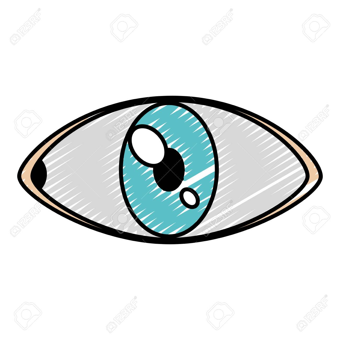 Doodle Eye Human Anatomy Vision Design Vector Illustration Royalty
