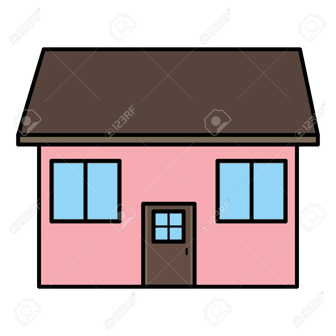 Color Nice Architecture House With Roof And Windows Vector ...