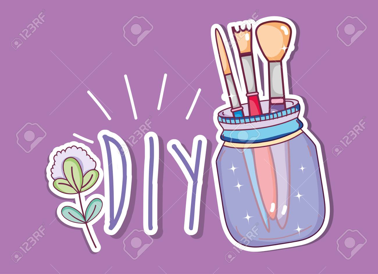 Do it yourself crafts with mason jar concept vector illustration do it yourself crafts with mason jar concept vector illustration graphic design stock vector 100314878 solutioingenieria Images