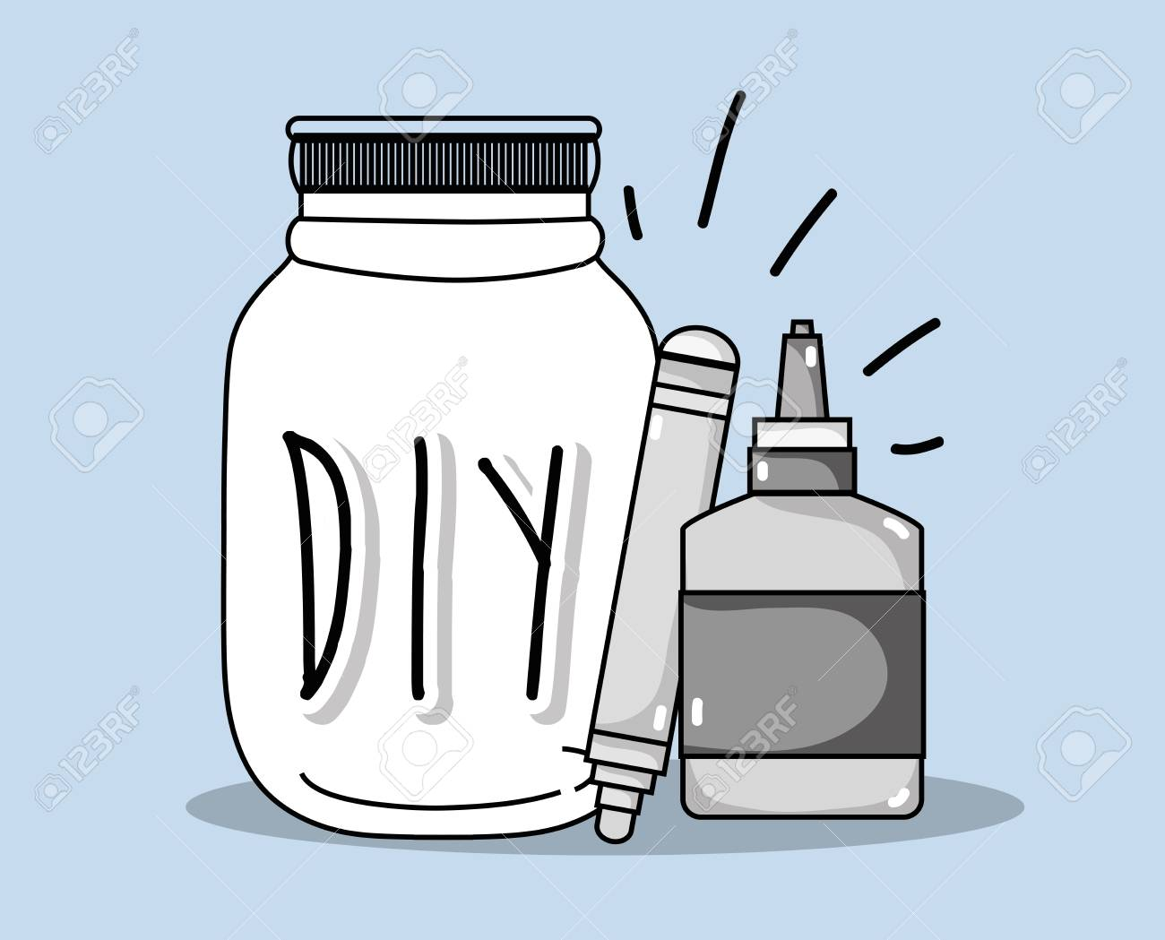 Do it yourself crafts with mason jar concept vector illustration do it yourself crafts with mason jar concept vector illustration graphic design stock vector 100314712 solutioingenieria Images