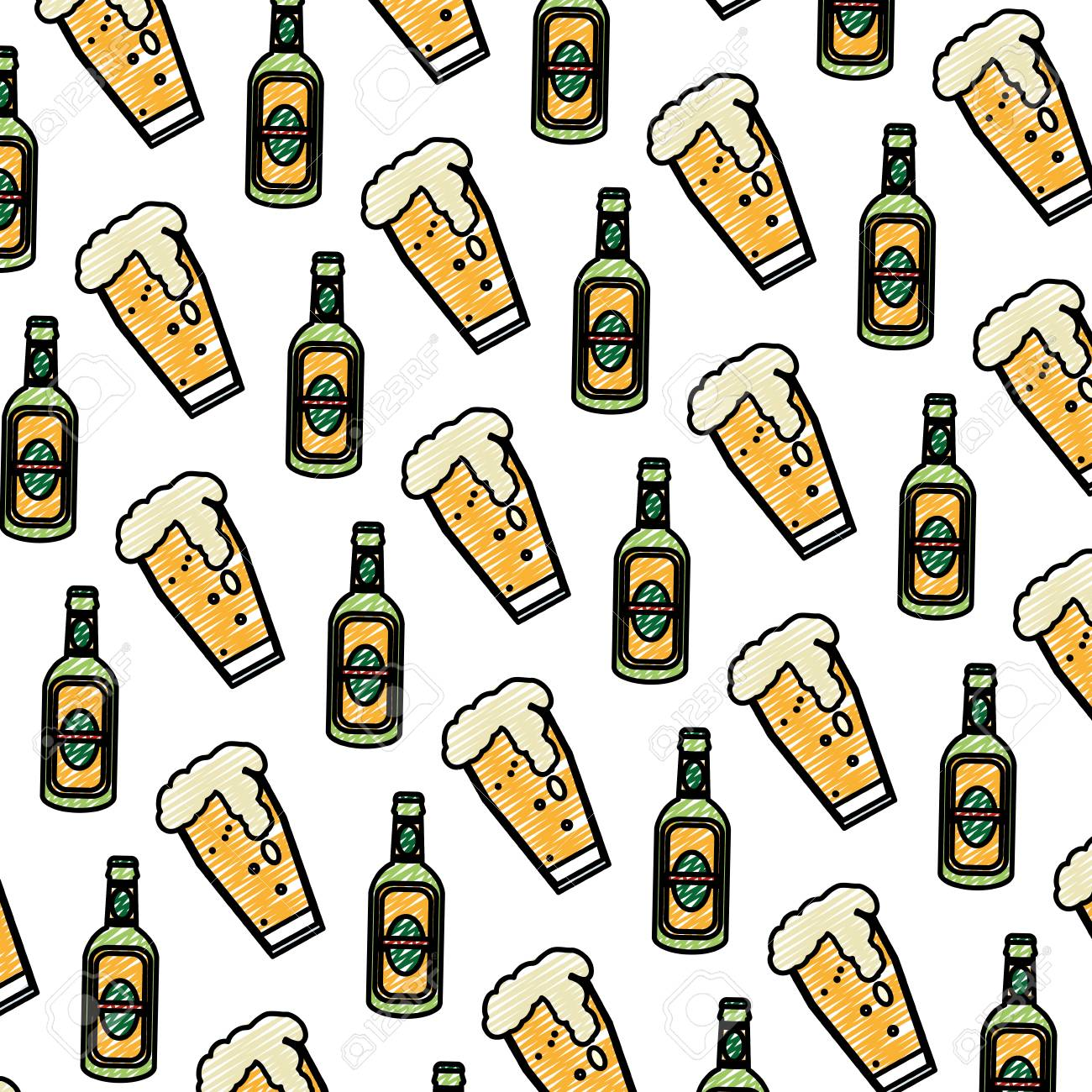 Doodle Schnapps Liquor Bottle And Beer Glass Background Vector