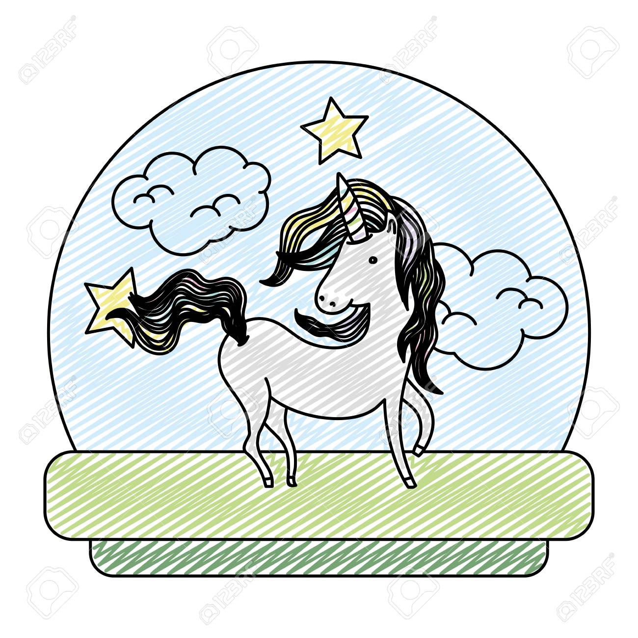 Doodle Cute Unicorn With Hair Mane Style Vector Illustration Royalty Free Cliparts Vectors And Stock Illustration Image 103284043