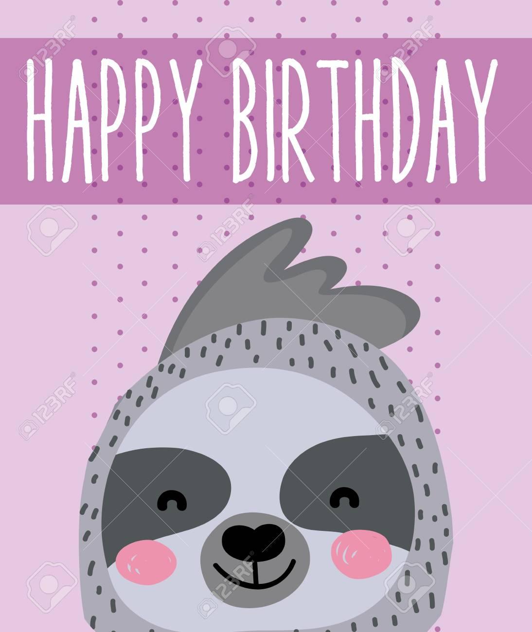 Cute Sloth Happy Birthday Card Cute Cartoon Vector Illustration