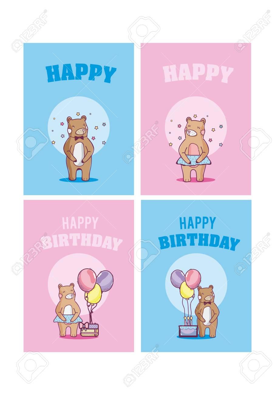 Set Of Happy Birthday Cards Standard Bild