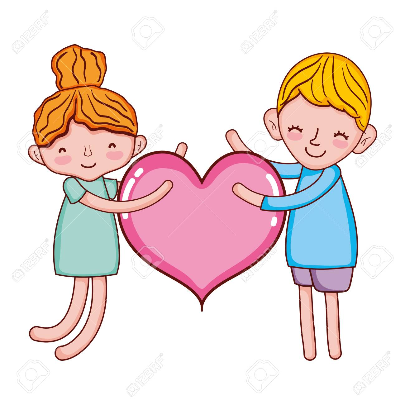 Boy And Girl Sleeping With Fashion Heart Stock Photo Picture And
