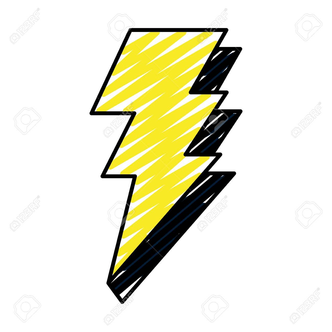 Doodle Electric Thunder Darger Bolt Symbol Vector Illustration