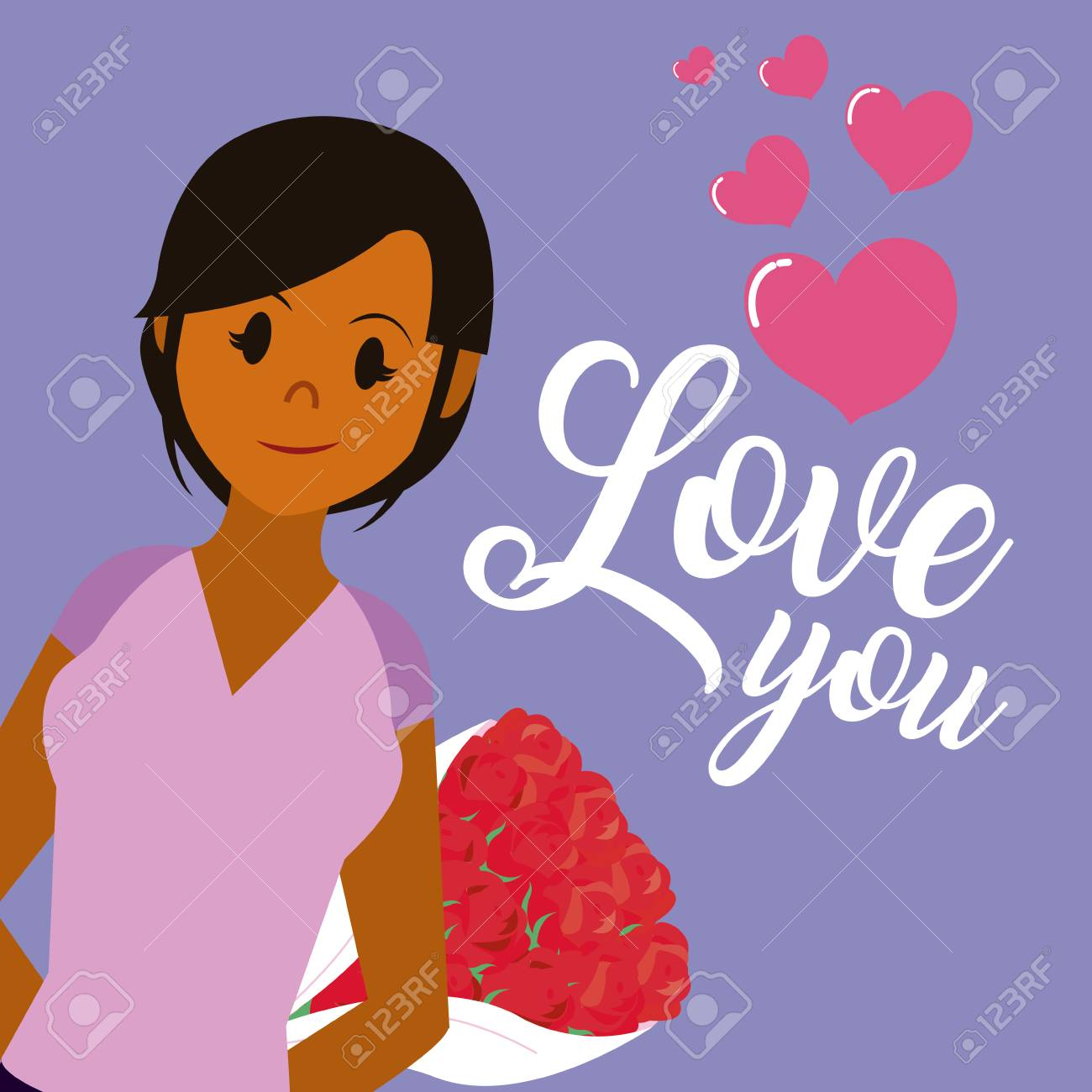 Love You Card With Beautiful Woman Cartoon Vector Illustration