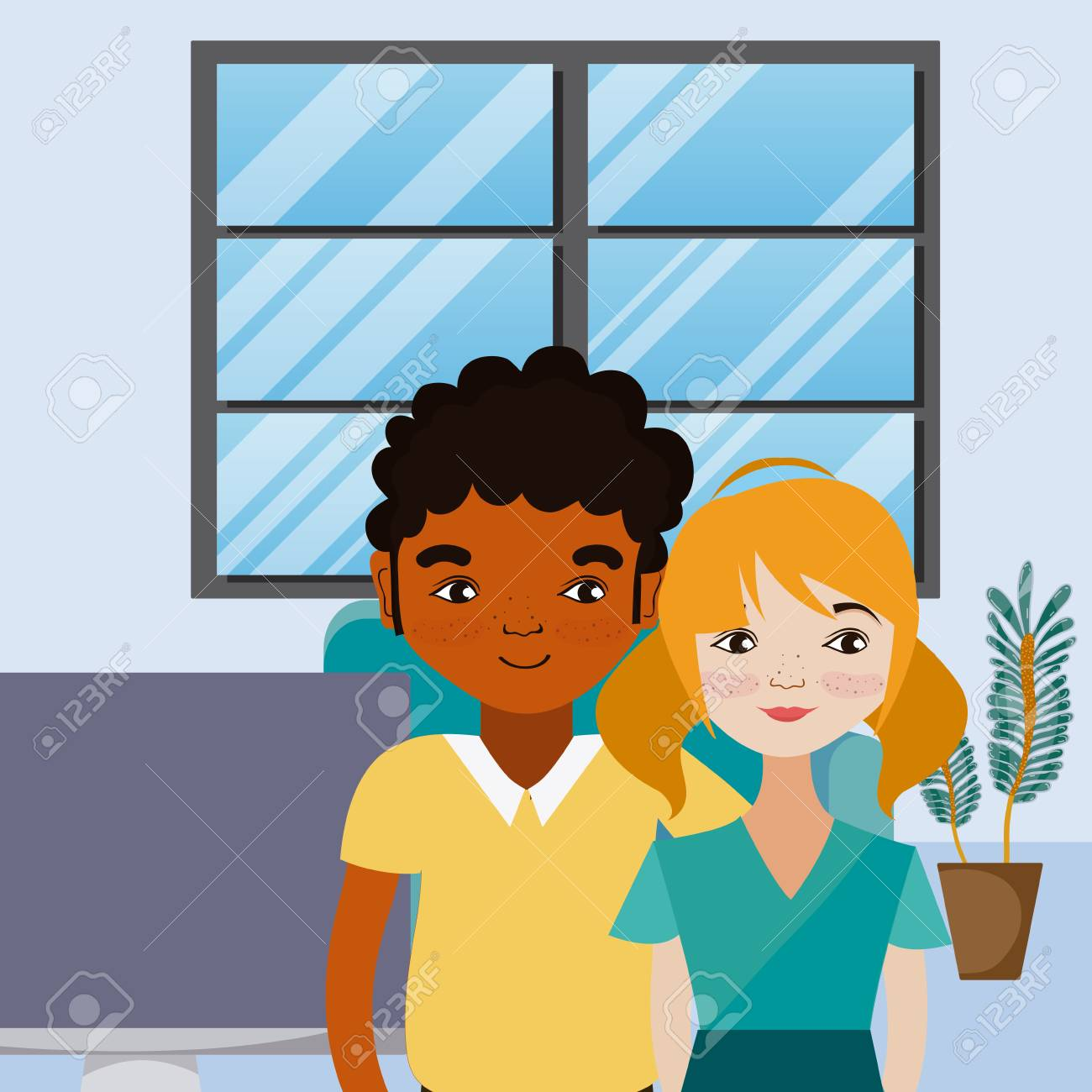 Cute Couple Living Inside House Cartoons Vector Illustration