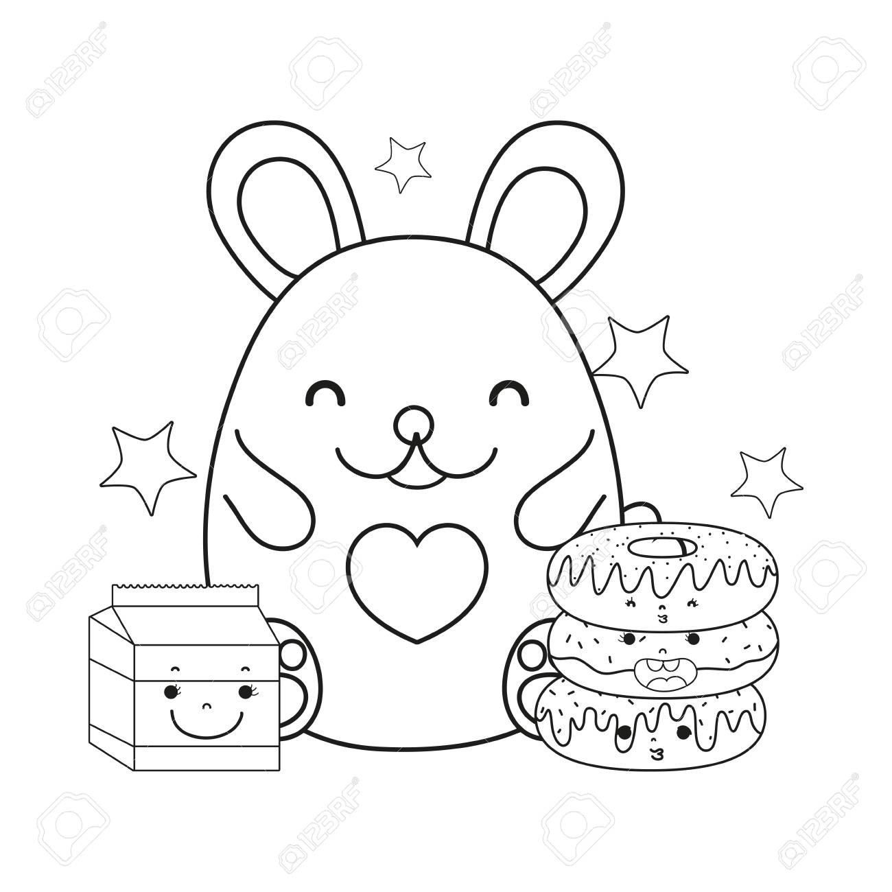Line Female Mouse With Kawaii Donuts And Milk Vector Illustration