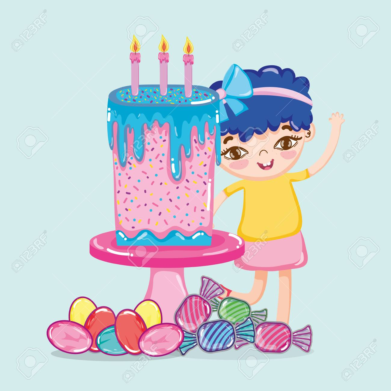 Girl With Birthday Cake And Candies Vector Illustration Graphic Design Standard Bild