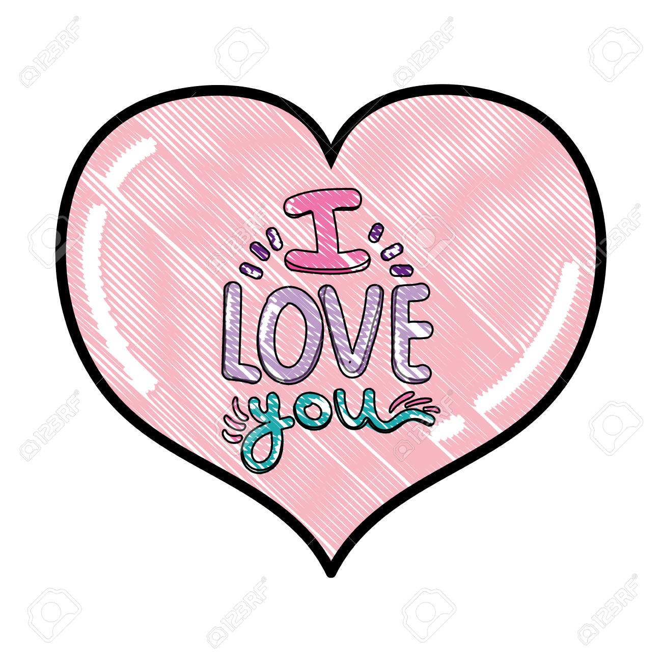 scribbled heart with i love you romantic message vector illustration - 110210259