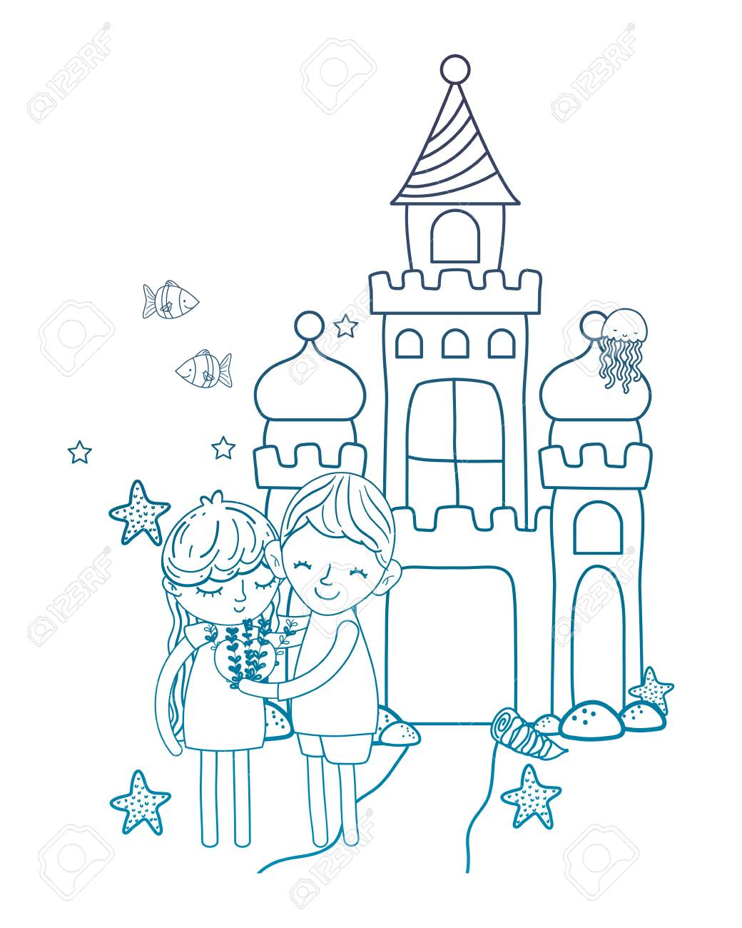 Degraded Outline Boy And Girl With Heart In The Castle Stars Vector Illustration Stock