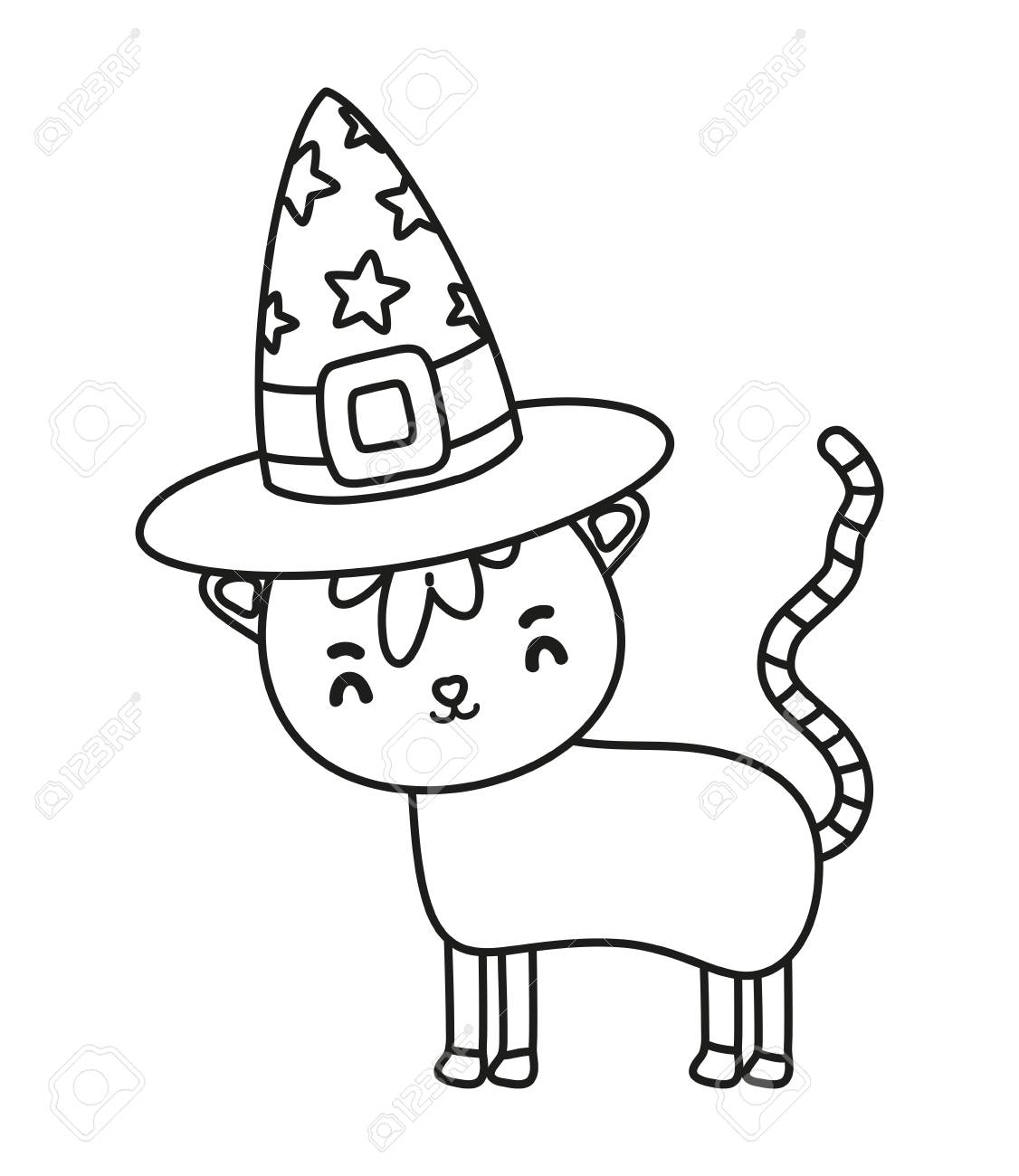 51359d18 outline nice cat animal with witch hat vector illustration Stock Vector -  110172494