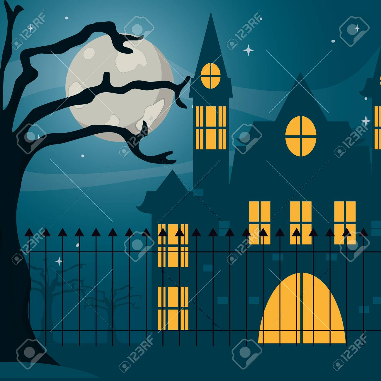 Halloween haunted house at cemetery vector illustration graphic design vector illustration graphic design - 109762541