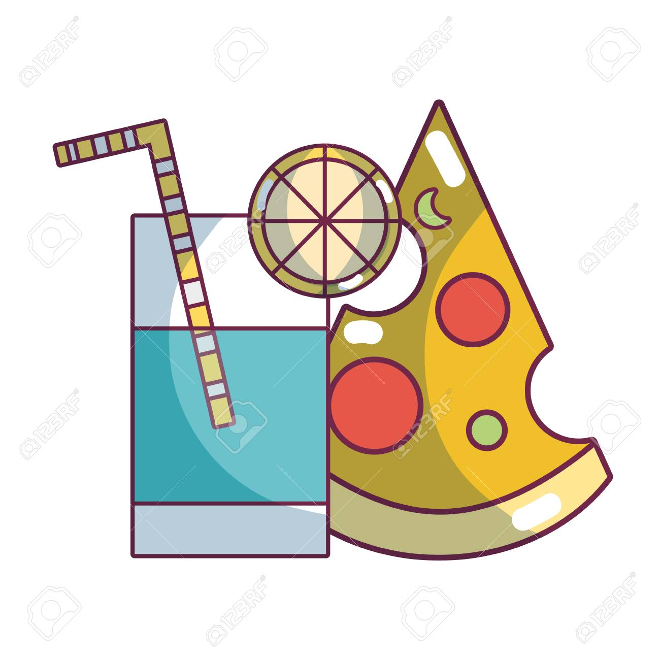 Pizza and lemonade cup delicious food vector illustration graphic