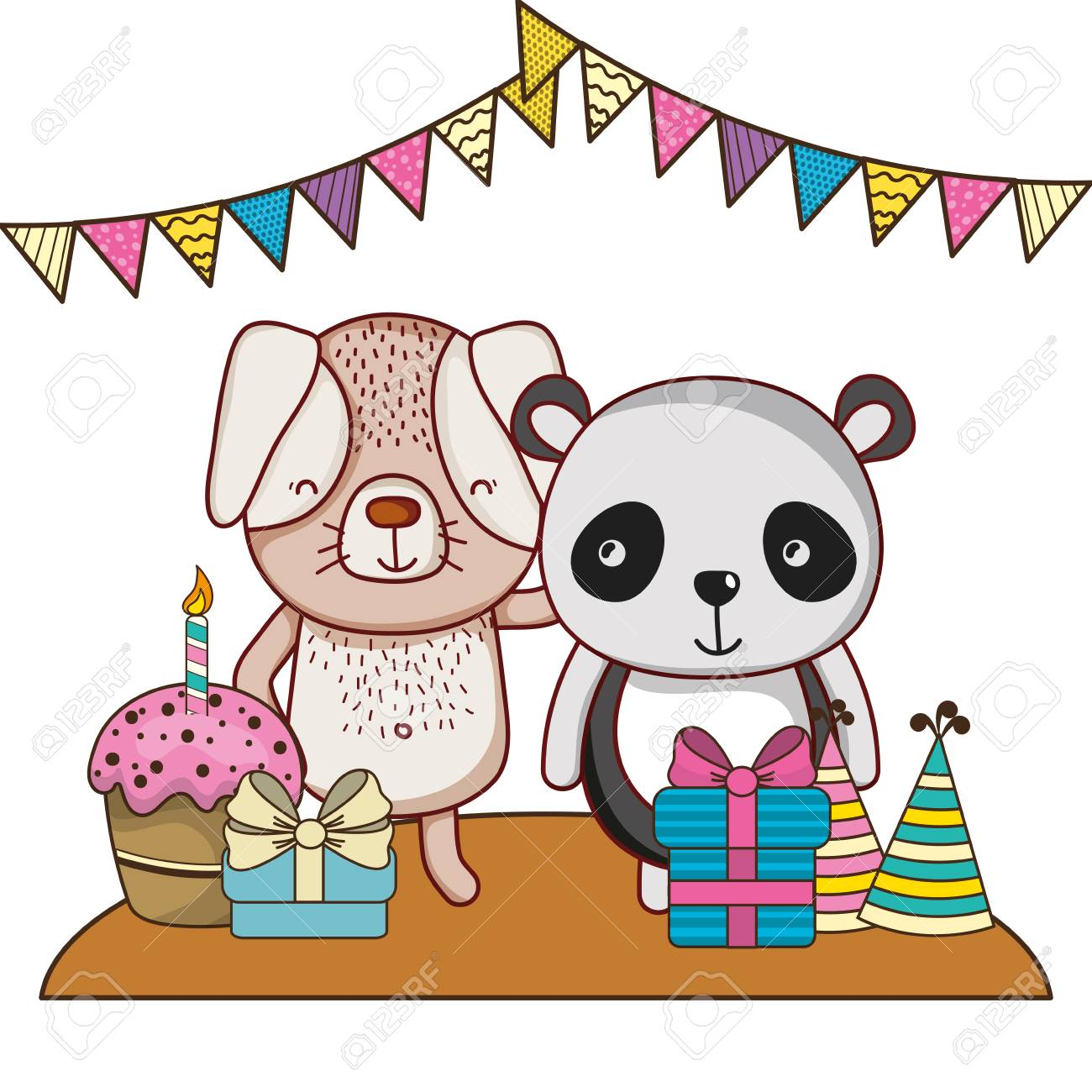 Happy Birthday Cute Animals With Presents Cartoons Vector