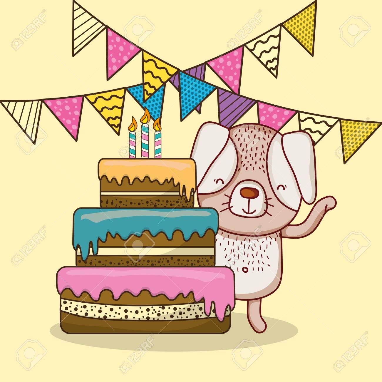 Happy Birthday Card With Cute Animal Cartoon Vector Illustration