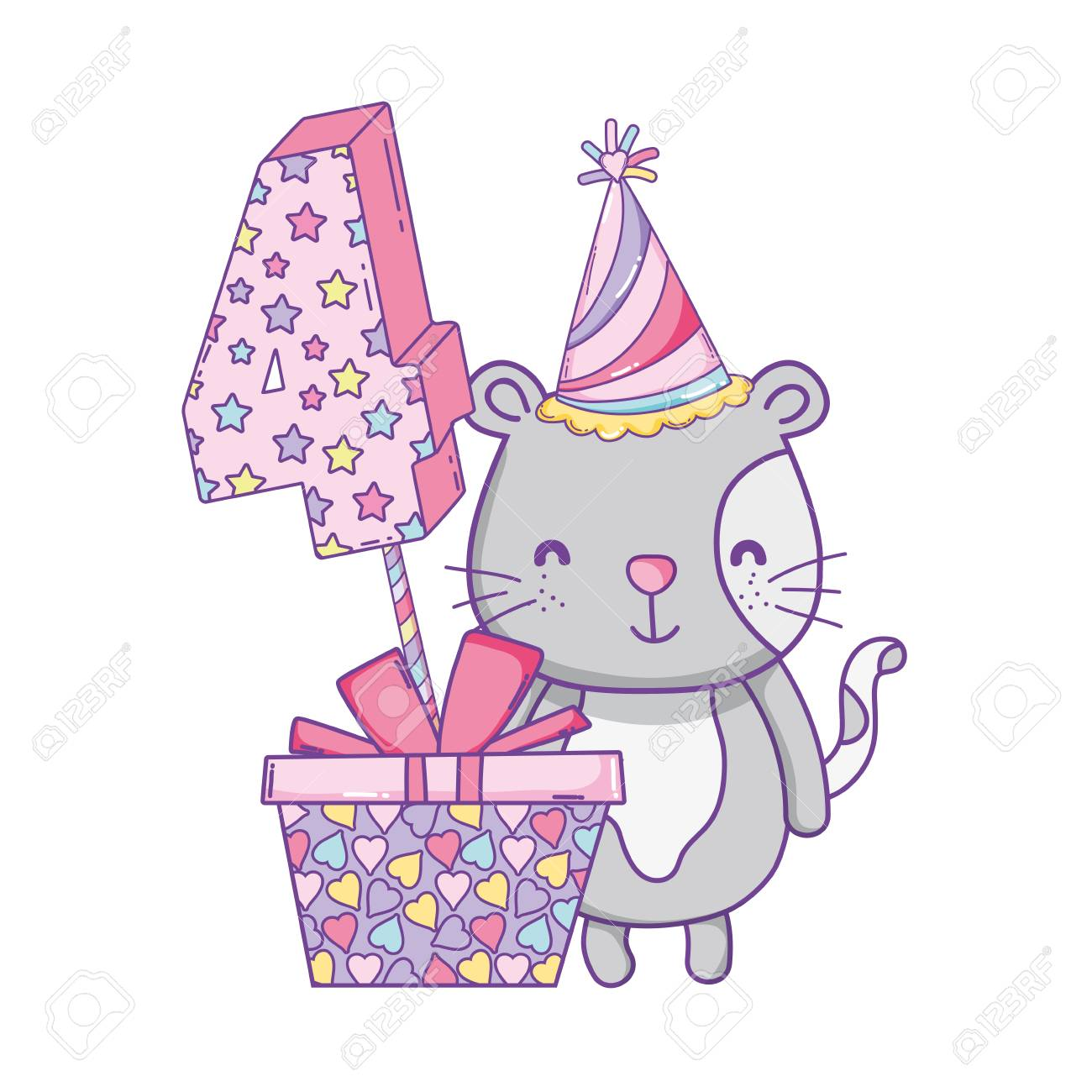Happy Birthday Cat Number Four With Hat And Gift Box Vector Illustration Graphic Design Standard