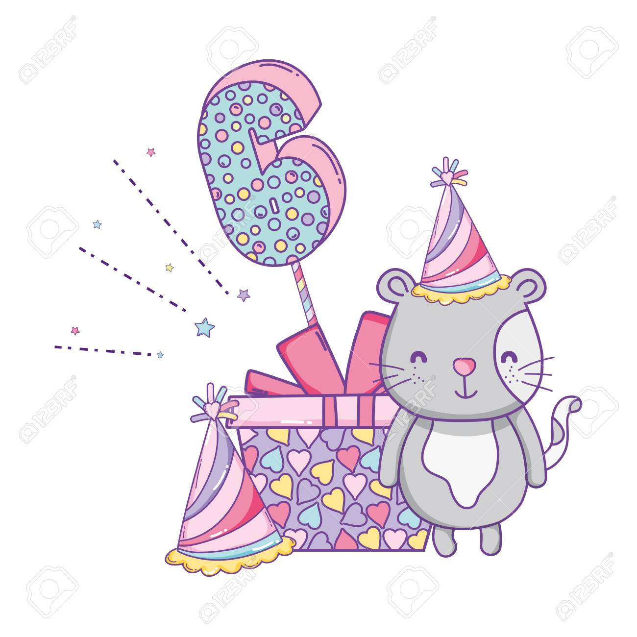 Happy Birthday Cat Number Six With Gift Box And Hat Vector Illustration Graphic Design Standard
