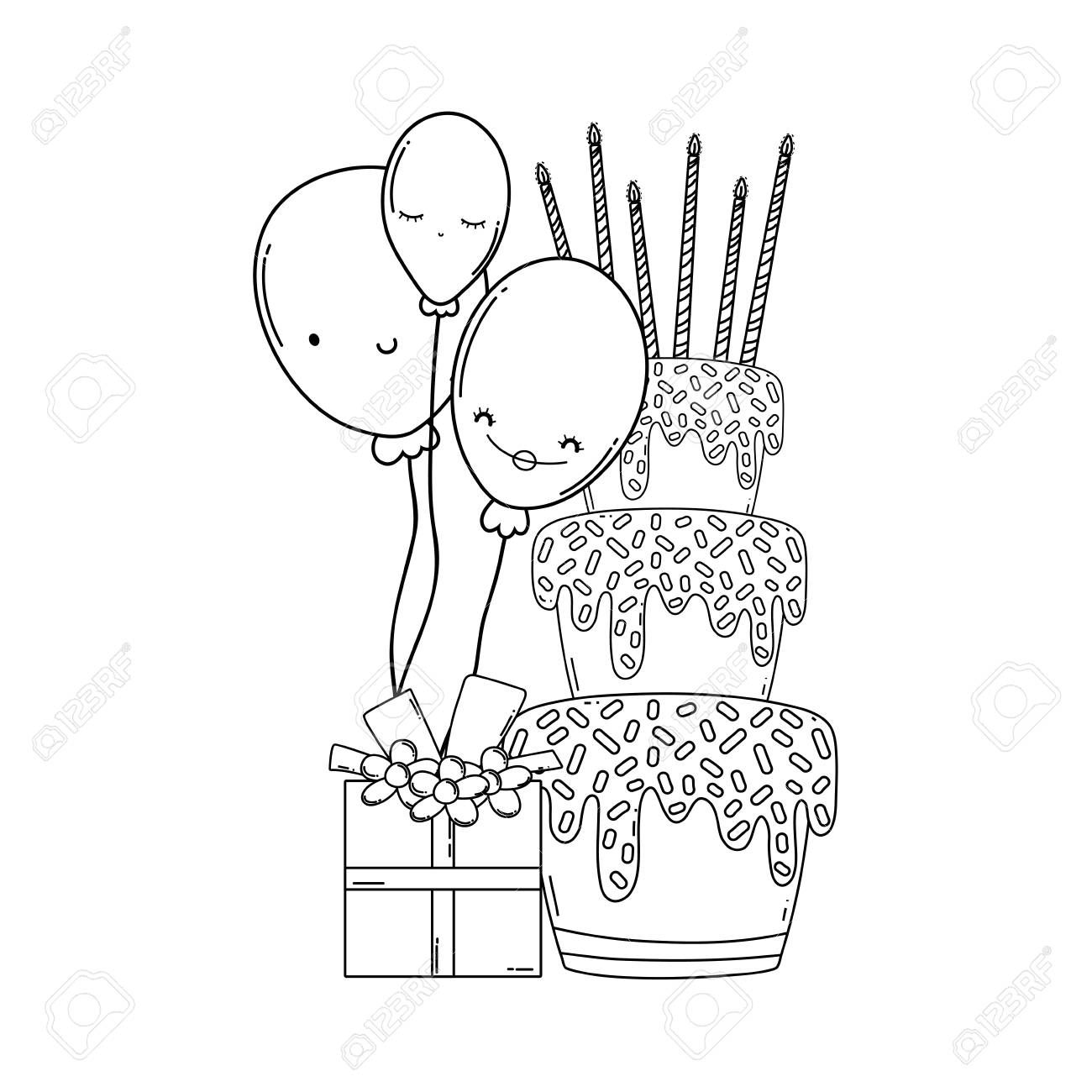 Birthday Cake With Gift Cartoons In Black And White Stock Photo