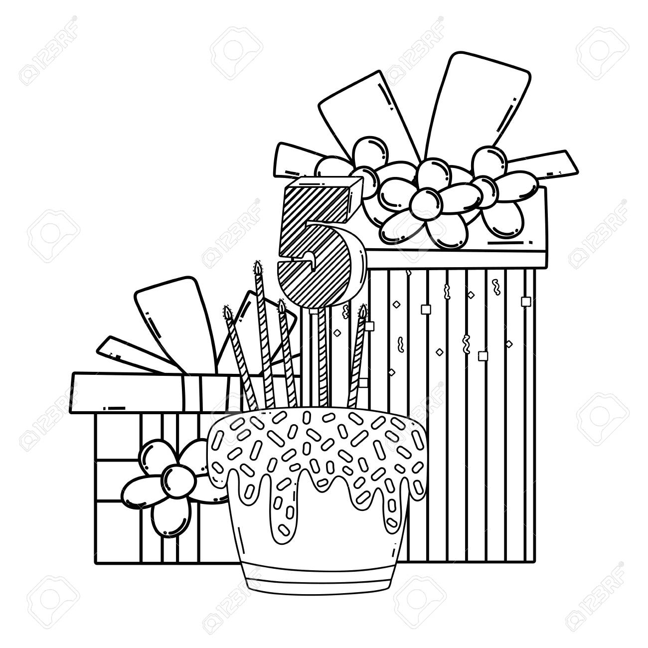Birthday Cake With Gift Cartoons In Black And White Banque D Images