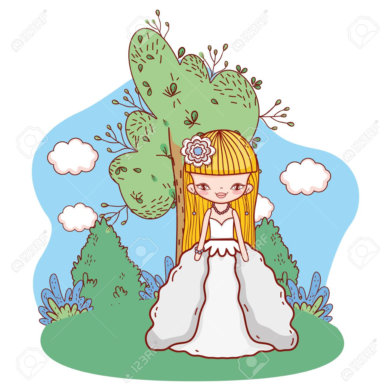 Young Bride Outdoors Landscape Scenery With Tree And Clouds Cartoon Royalty Free Cliparts Vectors And Stock Illustration Image 111427619 As you can see, this chart shows cartoons and those who worked on them. 123rf com