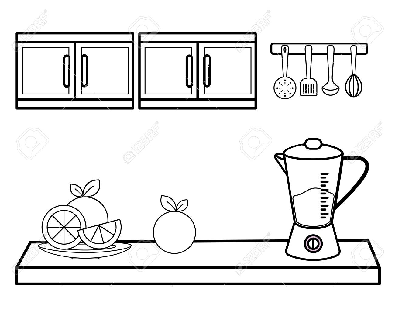 Fruits And Mixer Concept Of Kitchen Supplies Domestic Household
