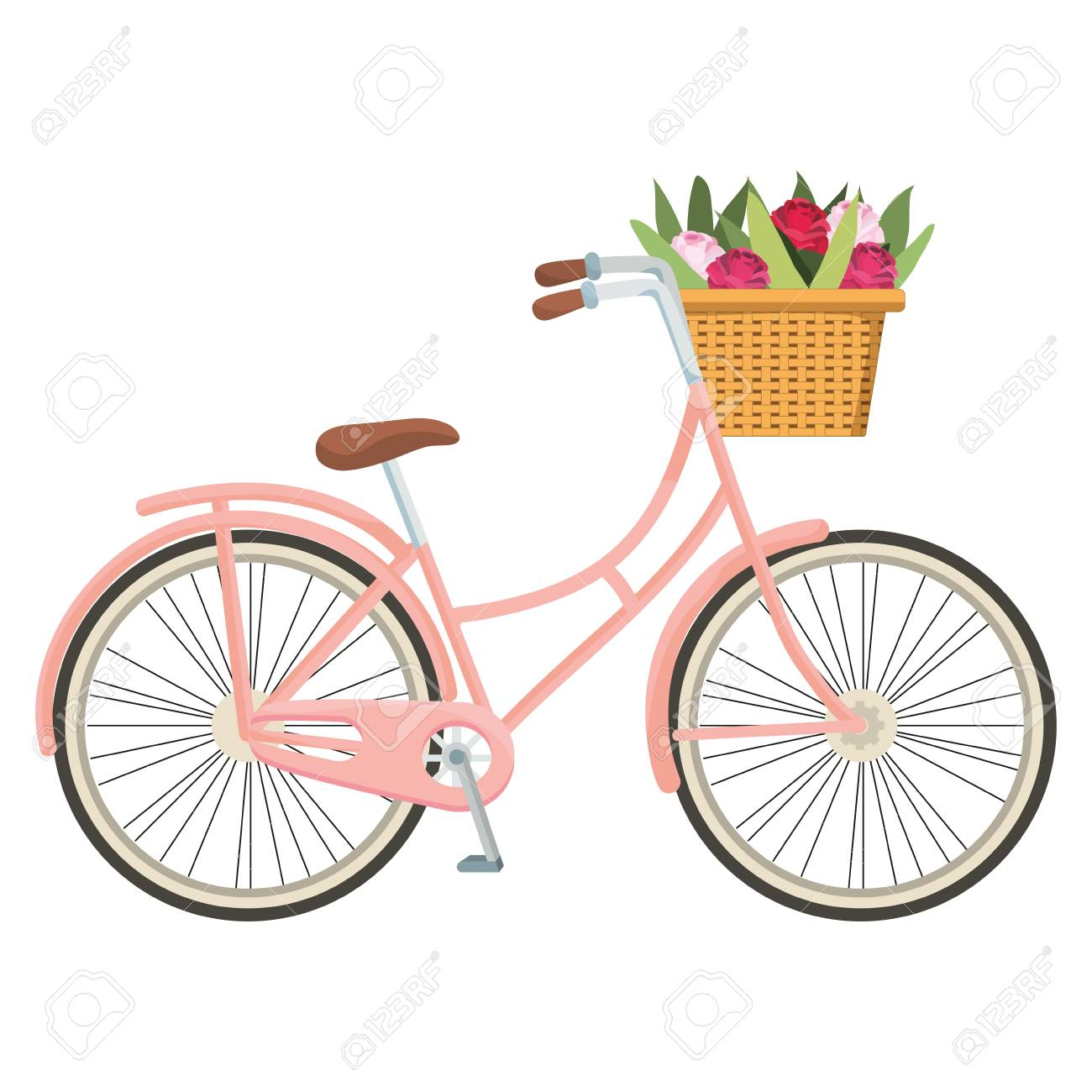cute bicycle and basket with flowers cartoon vector illustration graphic design - 127142324