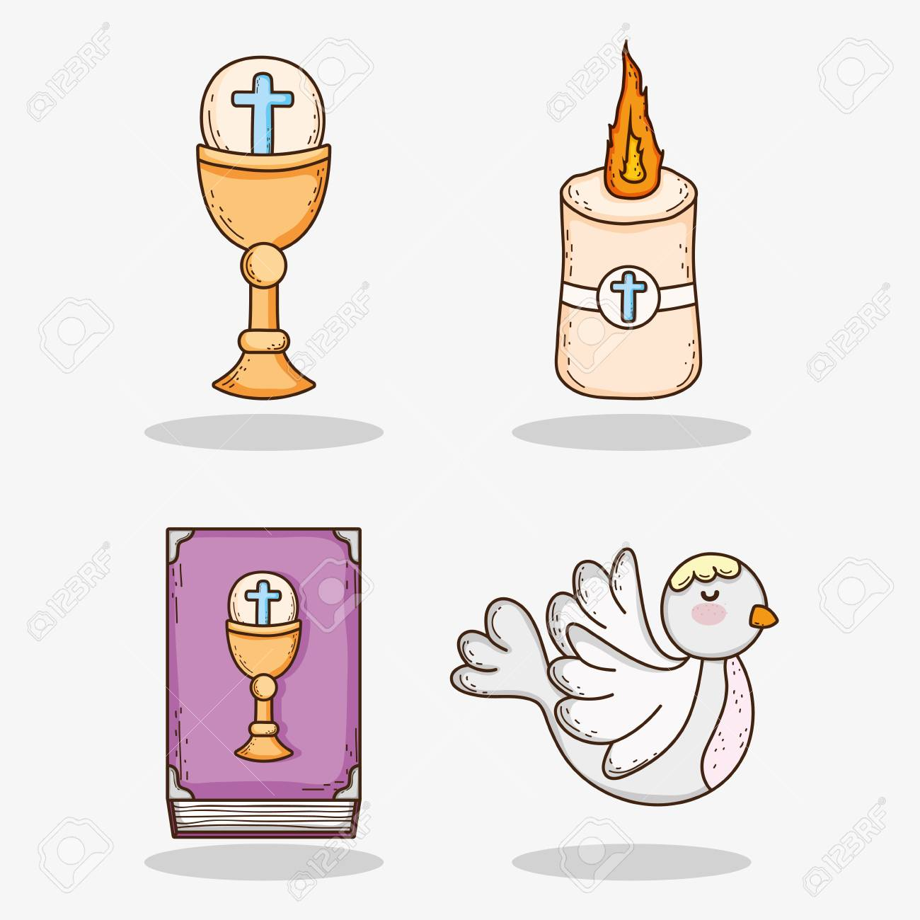 set chaliz with host and candle with bible and dove - 115350644