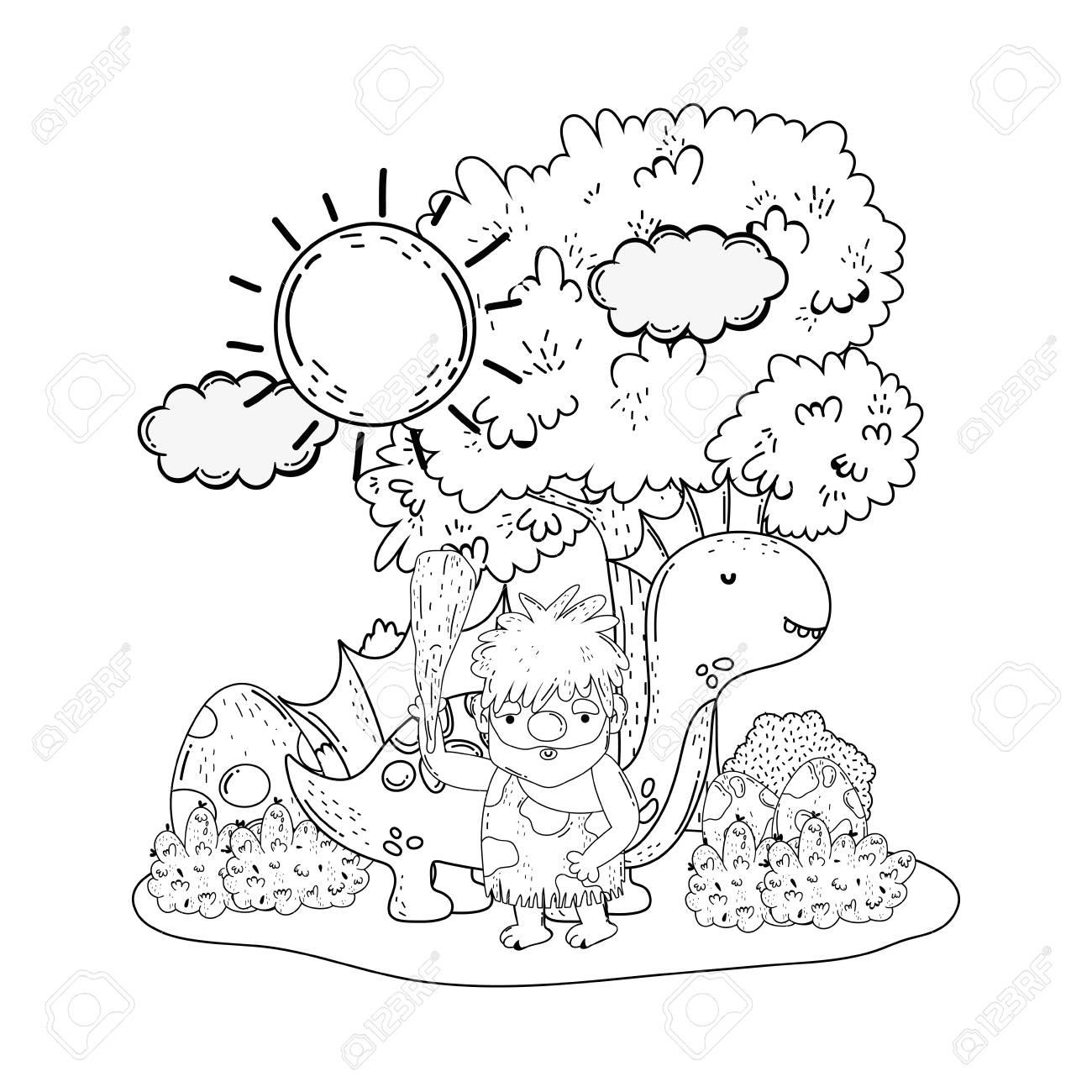 caveman with dinosaur in the landscape vector illustration design - 125816336
