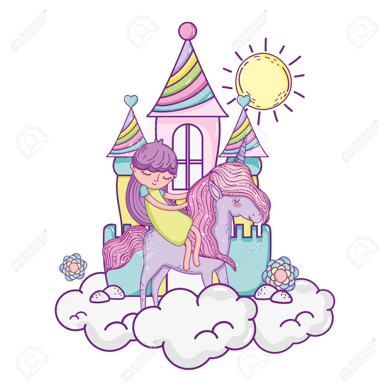 little unicorn and princess in the clouds with castle - 116096522