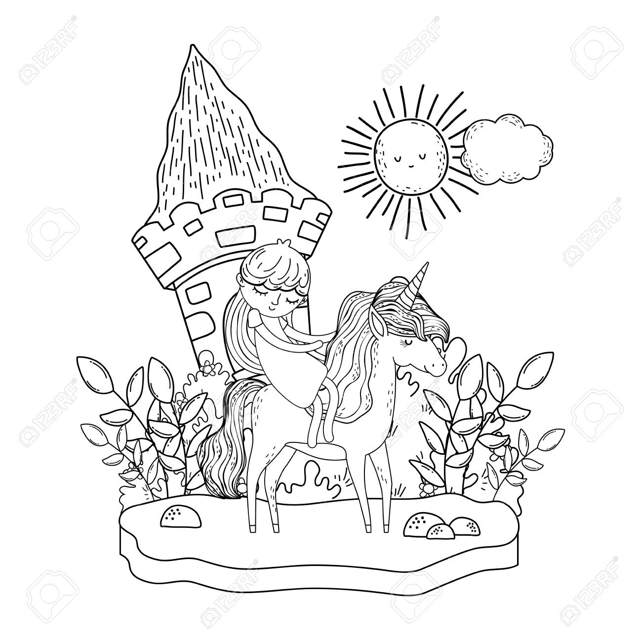 unicorn and princess with castle in the landscape - 116096614
