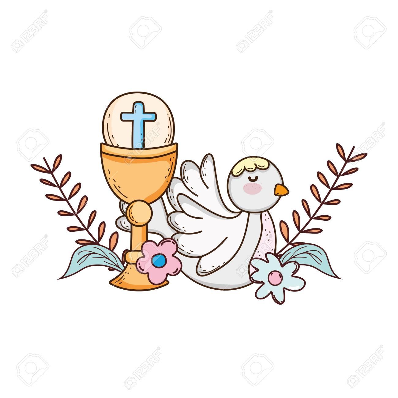 sacred chalice religious with dove bird - 116332670