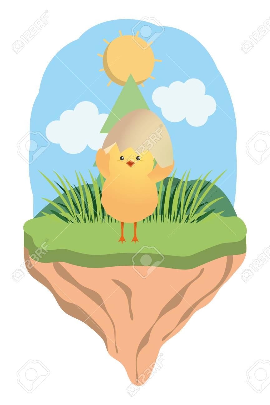 cute chicken with eggshell cartoon vector illustration graphic design - 125005635