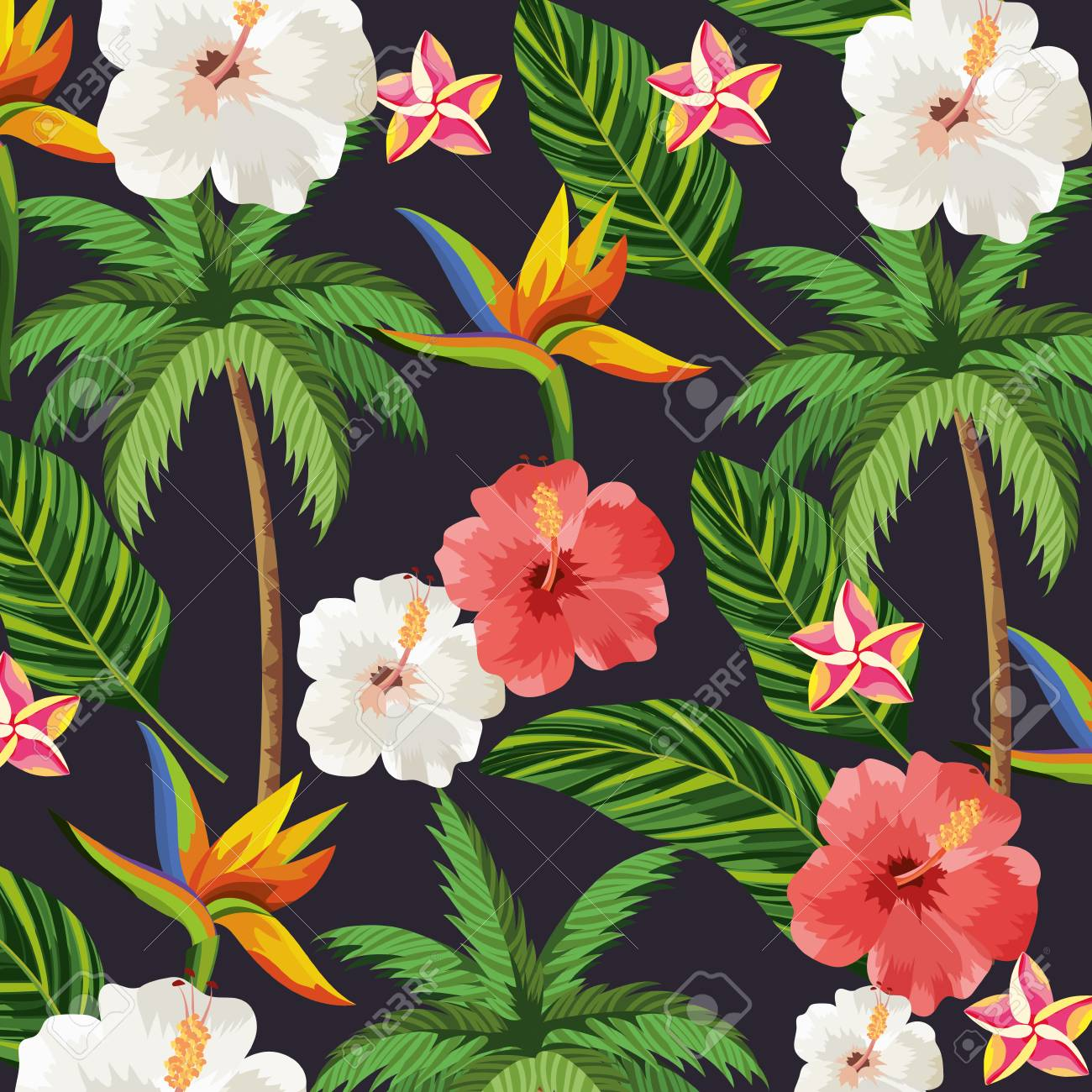 tropical flowers plants with leaves and plam background vector illustration - 124610829