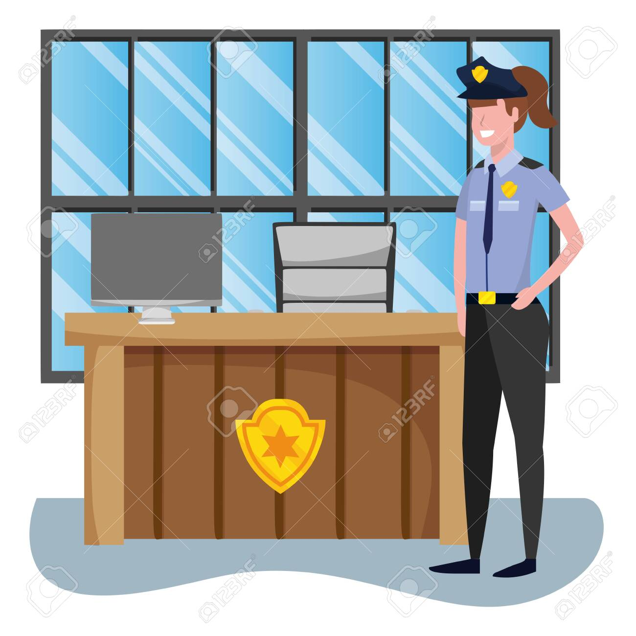 labor day job career police woman at police station cartoon vector