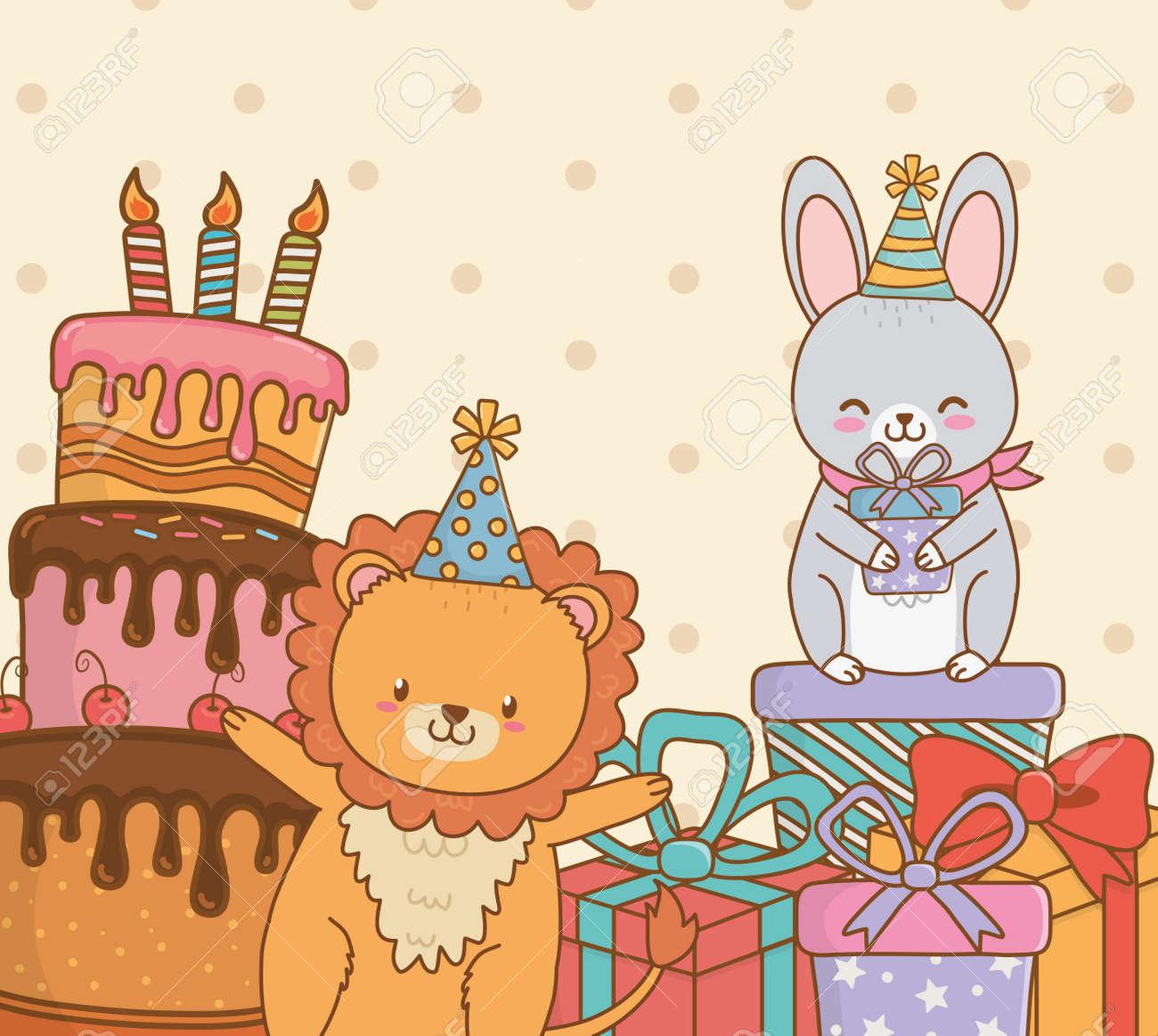 birthday card with cute animals woodland vector illustration design - 123807127