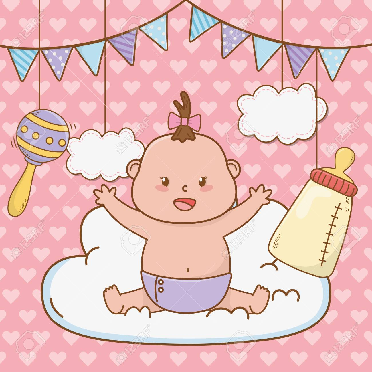 cute baby shower little baby with elements cartoon vector illustration graphic design - 123422487