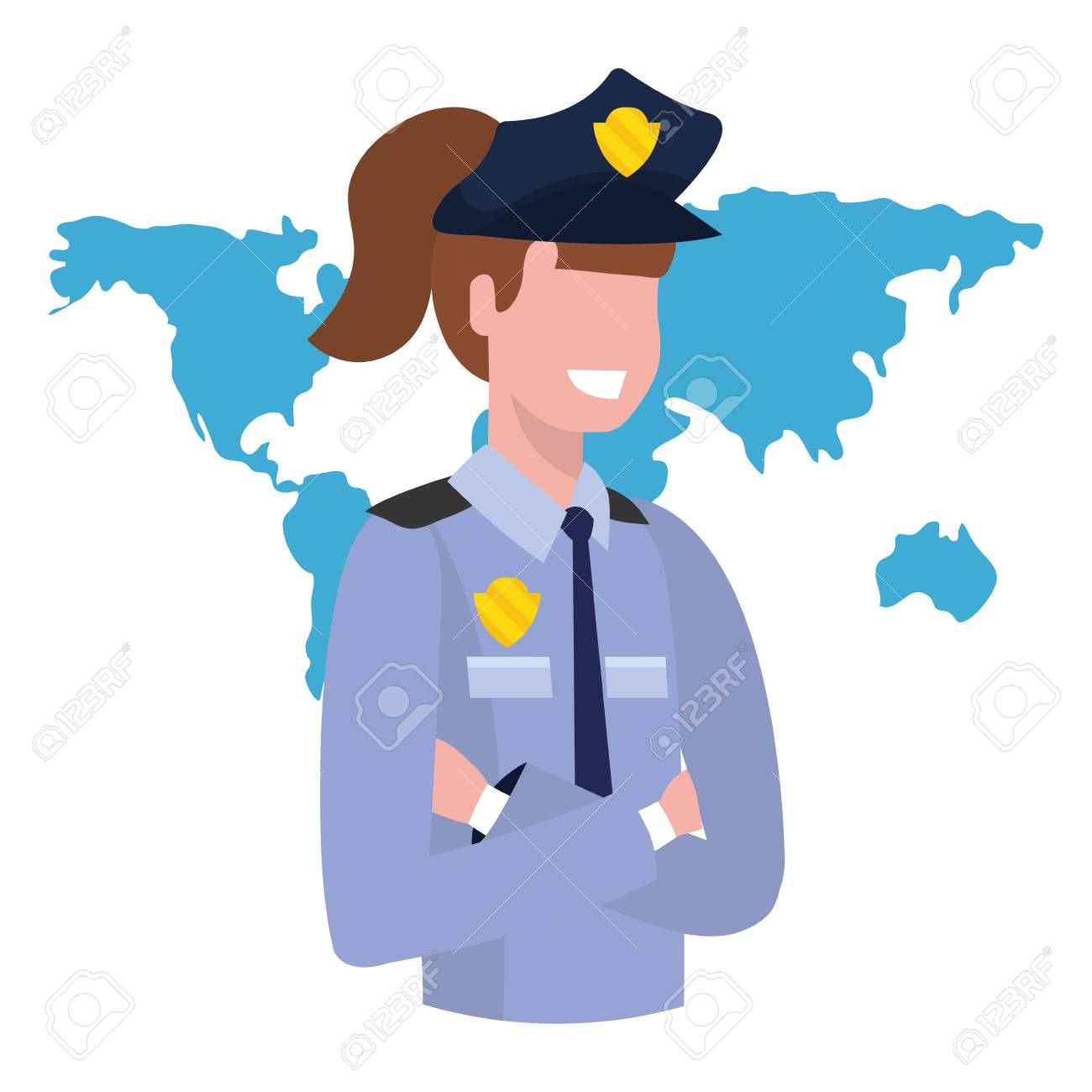 labor day job career police woman with world map cartoon vector