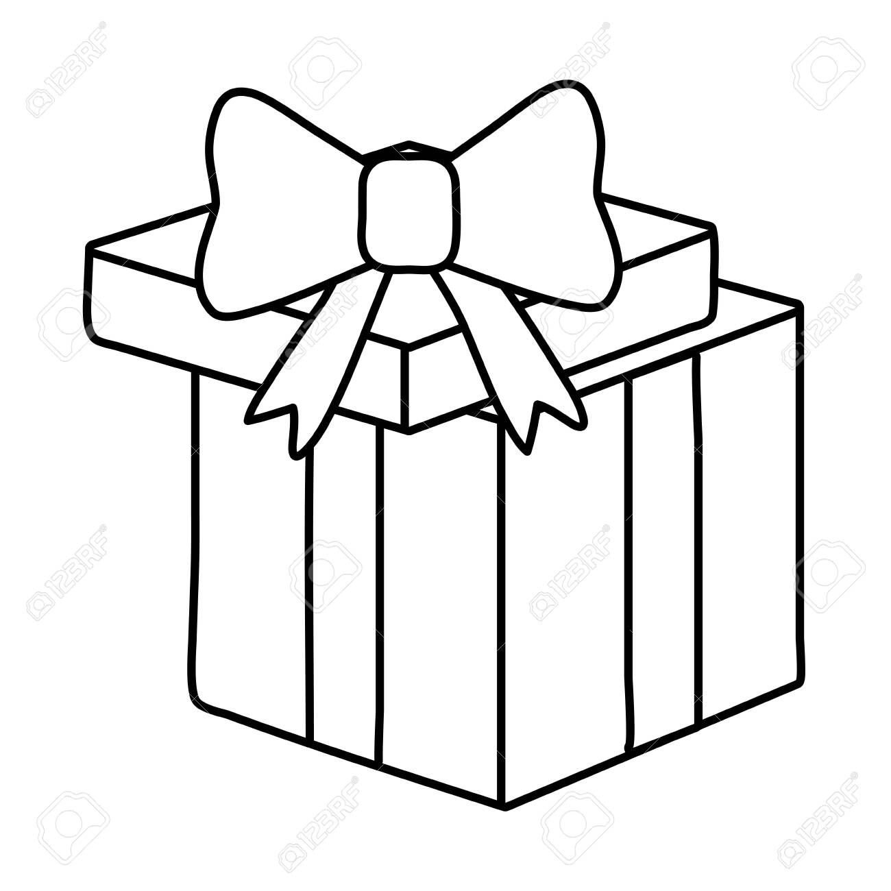 Gift Box Icon Cartoon Black And White Vector Illustration Graphic Royalty Free Cliparts Vectors And Stock Illustration Image 122868456