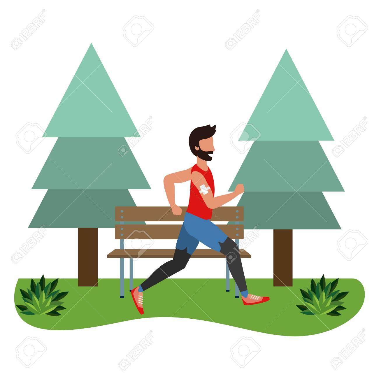 fitness sport train man running outdoor scene cartoon vector illustration graphic design - 122827267