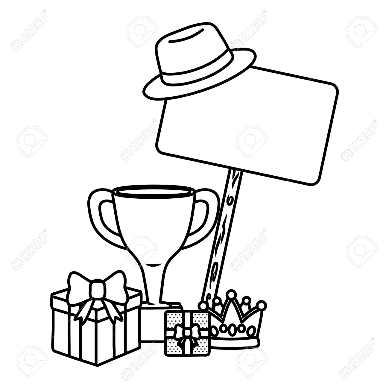 Gift Boxes With Trophy Crown Hat And Signboard Icon Cartoon Black Royalty Free Cliparts Vectors And Stock Illustration Image 122829554 See cartoon hat stock video clips. 123rf com