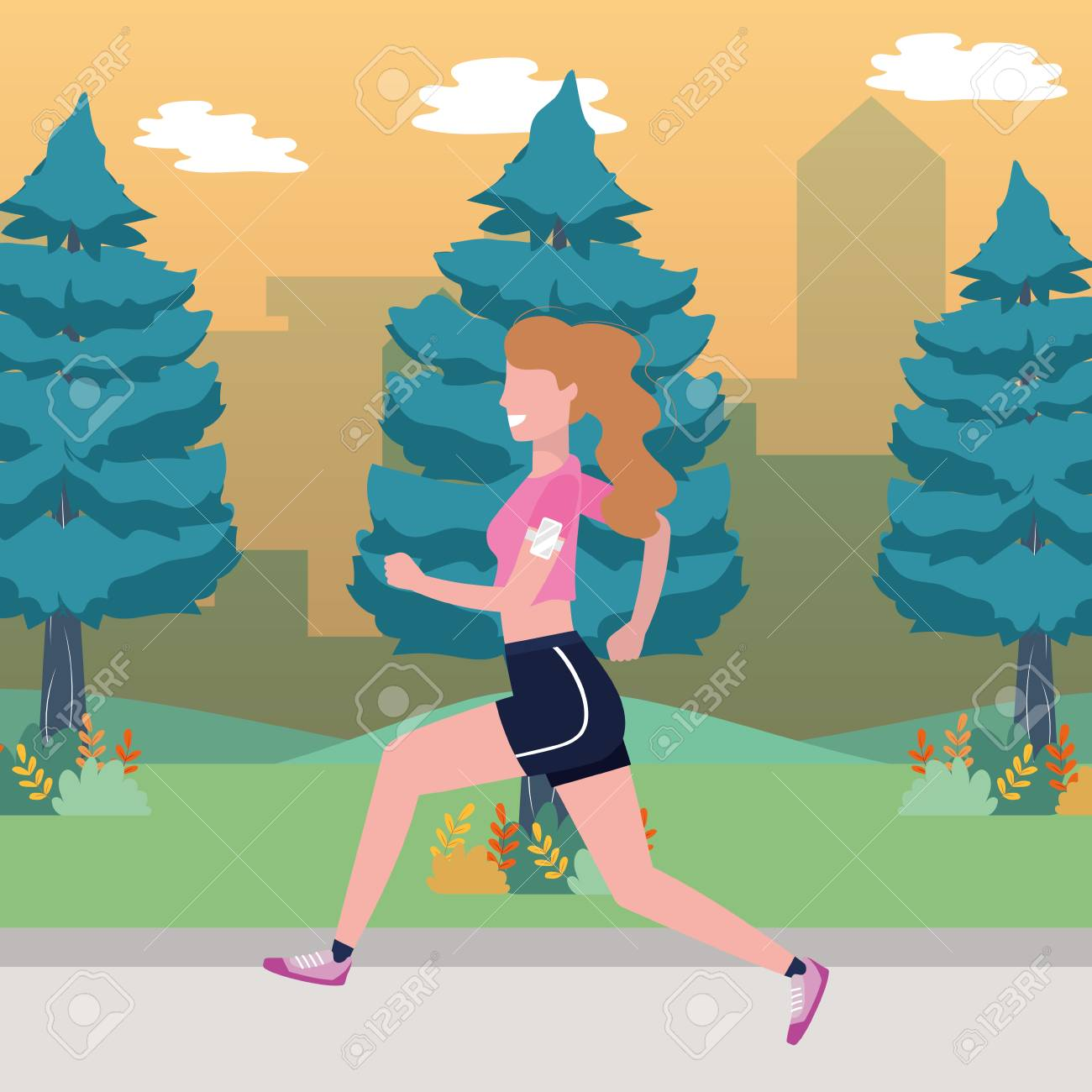 fitness sport train woman running outdoor scene cartoon vector illustration graphic design - 122830023